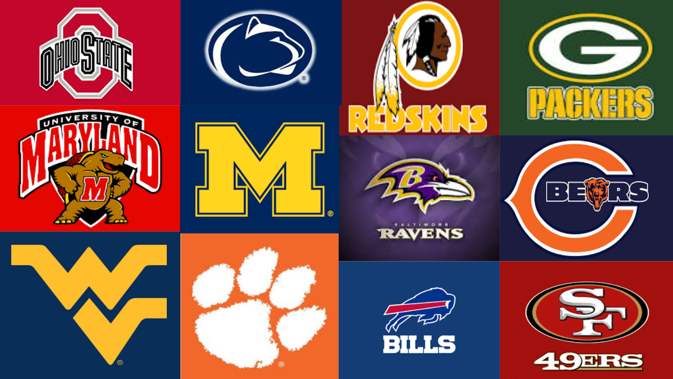 6 teams from both NFL and NCAA