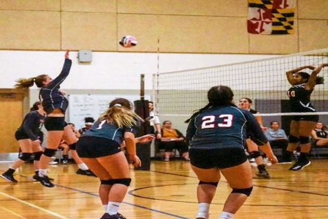 Delaney Ridgell attacks the ball to win the point against the MSD Orioles.