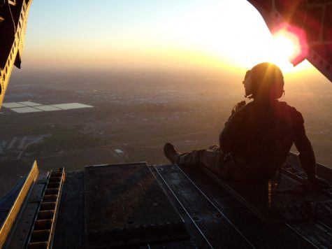 Cliff Hunsaker looks out over the horizon during deployment in Iraq.