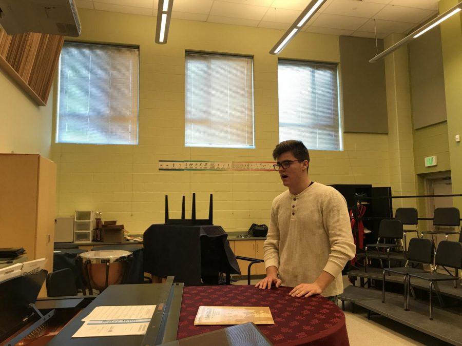 Senior+David+Kominars+sings+for+his+callback.