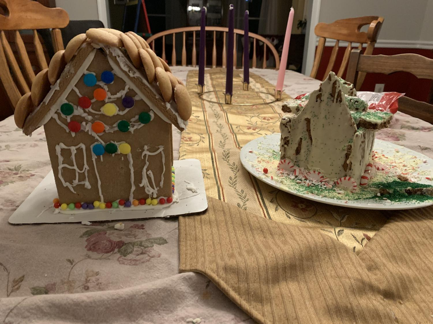 Leah's two attempts:  (left) The Walmart pre-made house and (right) the home-baked