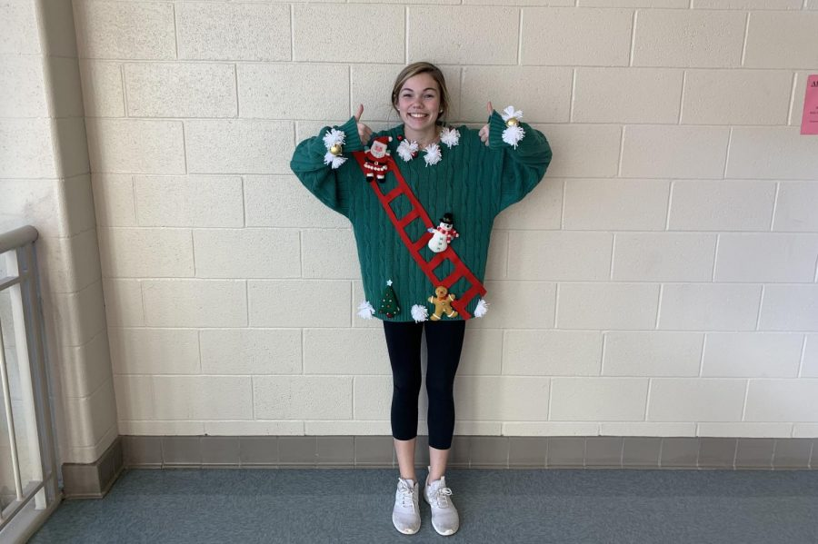 Ashley Martin wearing her new homemade pretty, Ugly Christmas sweater.