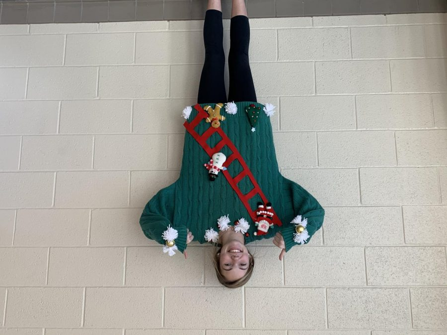 Ashley Martin models her new homemade Ugly Christmas sweater.