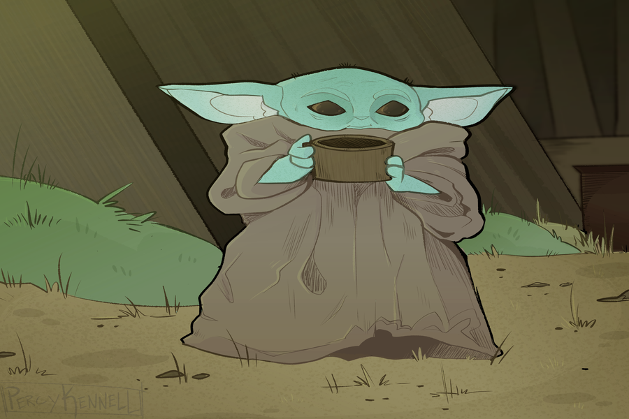 Baby Yoda adorably holds their drink.