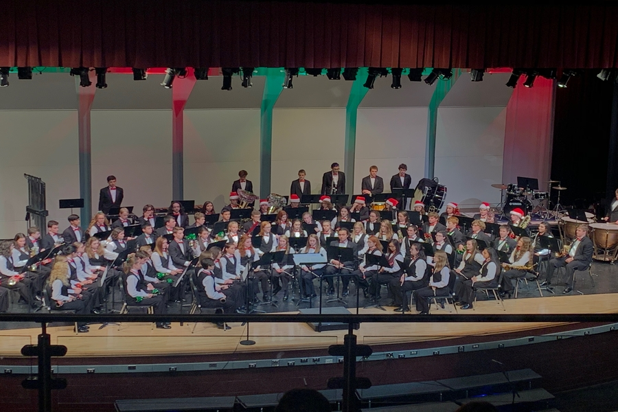 The Concert band prepares to play.