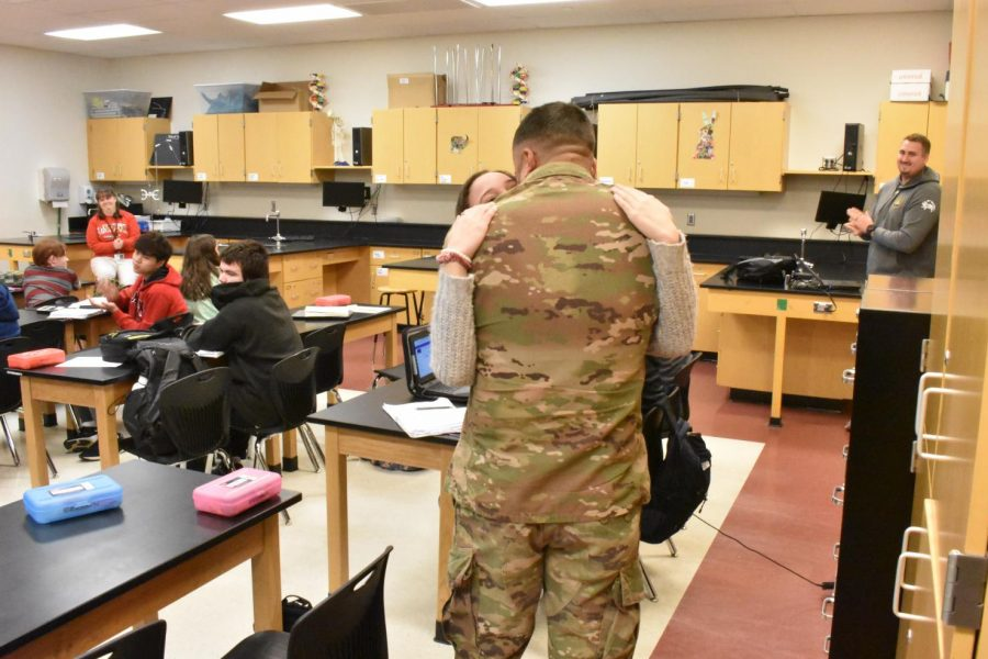 Army Sargent, John Castillo reunites with his daughter, Mikaila White, after being deployed for three months.
