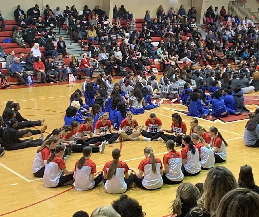 Poms+team+waits+for+results+at+their+first+competition.