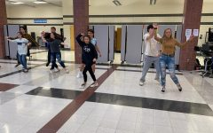 Mr. Linganore contestants practice their samba dance for the performance.
