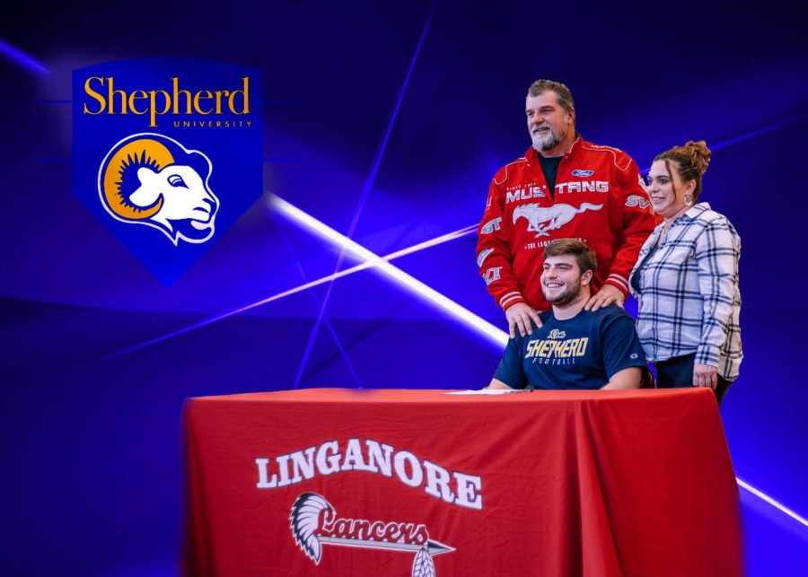 Dustin Keith and his family celebrate signing his National Letter of Intent to Shepherd University.