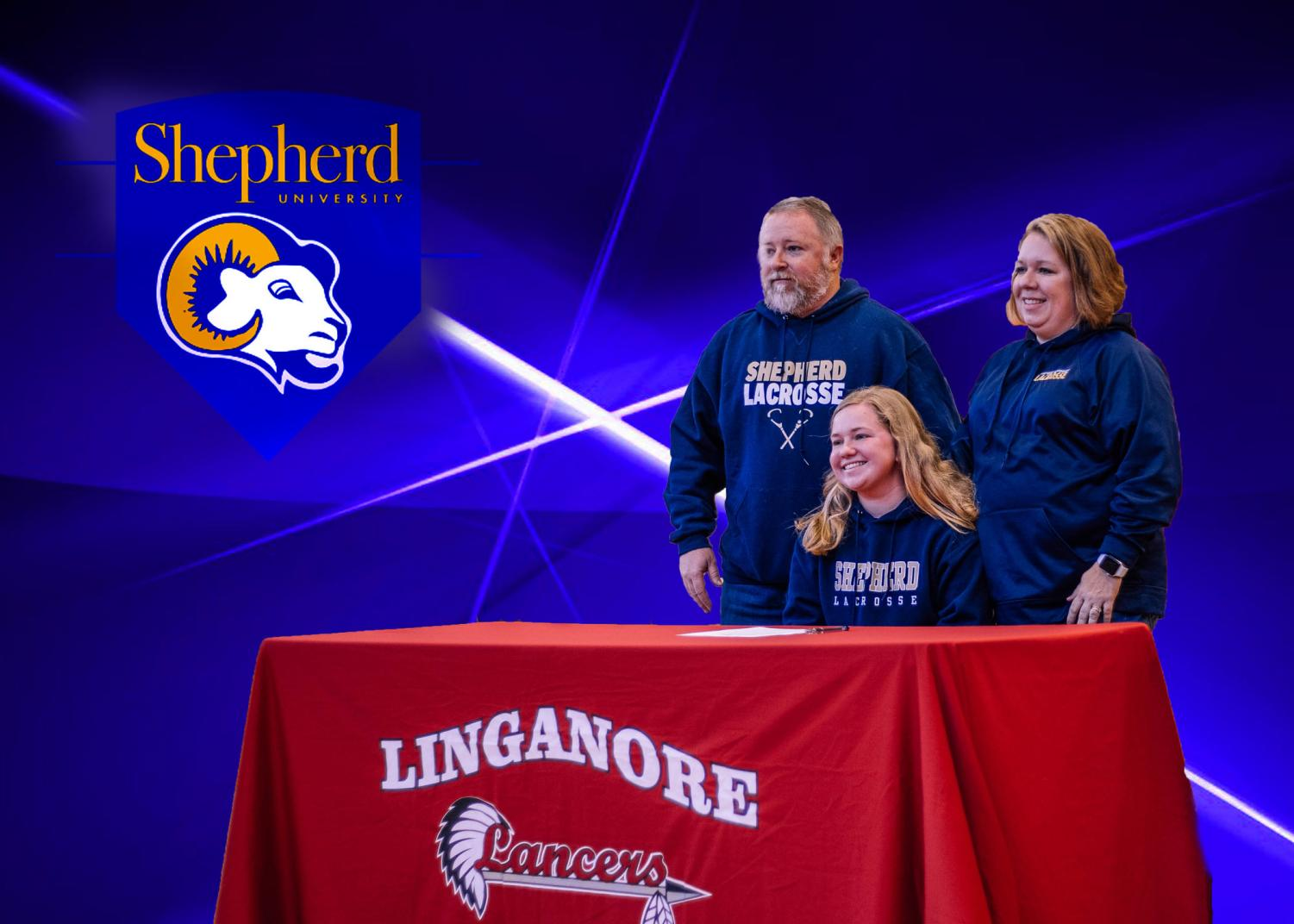 Emily Cole smiles with her Parents Angie Cole and Kevin Cole after signing to Shepherd University.