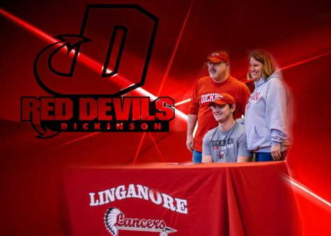 Ethan Hart and his family smile for the cameras after he signs to Dickinson