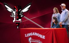 Payton and her parents celebrate her committment to Lynchburg University.