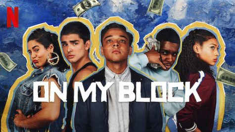On My Block season 3 poster. from left to right- Jamine, Cesar, Ruby, Jamal, and Monse