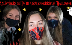 Paige Alexander, Madeline Hull and Caroline Hobson posing for a picture in their masks.