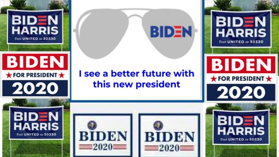 Yard signs show support for Joe Biden