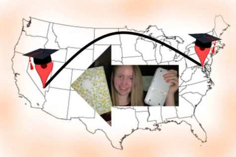 Within the arrow, Jessica Young holds up her school planner and calculator. This is  representing how many students are participating in distance learning: distantly!