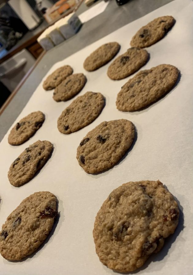 Golden oatmeal raisin cookies shining in the light of the holidays