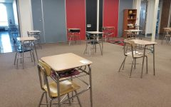 Desks at NMMS spread 6 feet apart to keep students socially distanced.