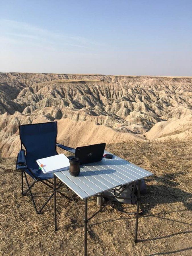 Sharon Drake's teaching setup in Badlands South Dakota.