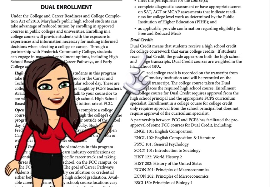 My Bitmoji Pointing out to take a Dual Enrollment class on the FCPS Course guide Packet.