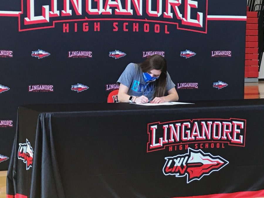 Elizabeth Rajnik signs her National Letter of Intent on signing day.