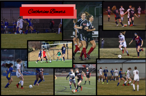 Collage of Catherine Bowers playing soccer on her various teams. An assortment of photos taken by Victoria Garofolo and Michell Bowers.