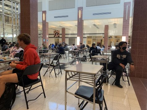 Cohort A students share a socially distanced lunch. Free meals are available during all lunch shifts.