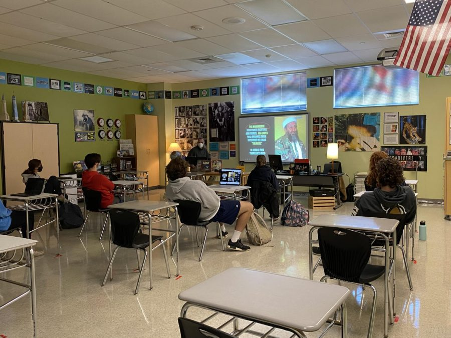 Mr. Hornbeck teaches his 9/11 class to both in-person and virtual students.