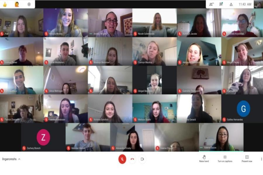 Student+members+of+Linganore%E2%80%99s+Spanish+Honor+Society+enjoy+each+other%E2%80%99s+company+as+they+engage+in+discussion+during+one+of+their+monthly+virtual+meetings.+
