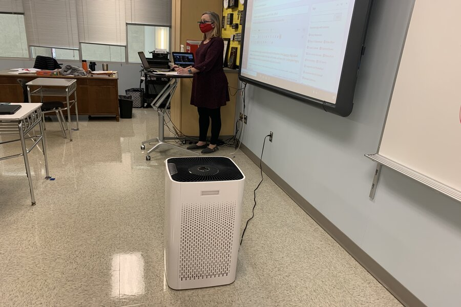 English Teacher Natalie Rebetsky teaches in a room with a new air-purifier.  Set to be on for 8 hours, the unit is quiet, and few notice it.