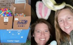 Haskins and Thompson fill and hide eggs at participant's house before Easter.