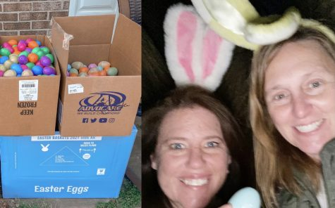 Haskins and Thompson fill and hide eggs at participant