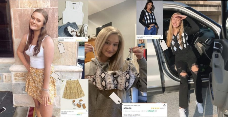 Madeline+Williamson%2C+Lindsey+Green+and+Gabby+Thompson+showing+off+their+Shein+items+with+the+matching+clothing+costs.