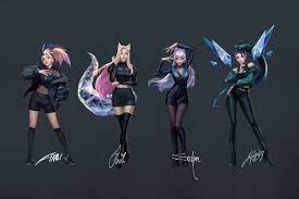 A picture featuring the popular virtual K-Pop band K/DA with Ahri, Evelynn, Akali, and Kaisa