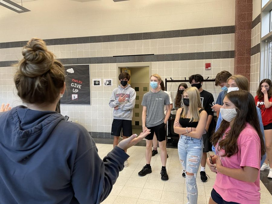 Senior Madeline Hull, introduces the new Lancer Lair to this years freshman and sophomore.