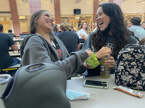 Sophomores Tess Engel and Grace Booth feeling connected through in-person schooling.