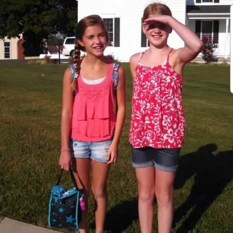 Abbey and Emma on the first day of 4th grade at New Market Elementary School.