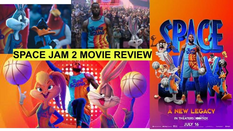 A graphic collage of some of the space jam characters.