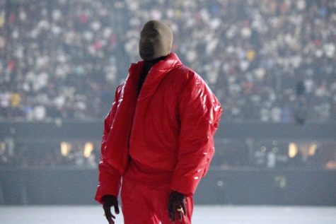 This is Kanye West at the Donda listening party at the Mercedes stadium in Atlanta. The listening party was also streamed on Apple Music, which is where I attended.