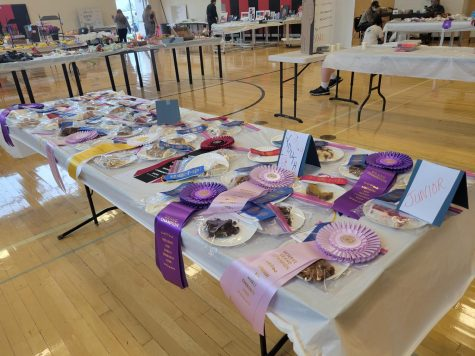 One of the many tables filled with delicious baked goods. This table features treats made by Youths and Juniors.