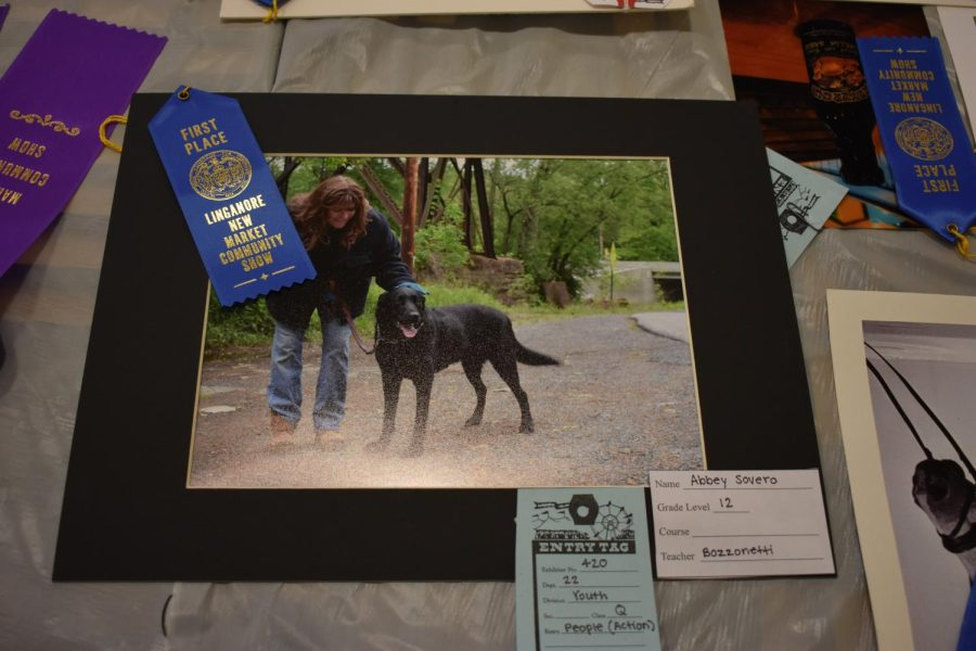 Abbey Sovero takes a photo of her dog and her mom, taking first place in the action person category.