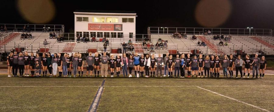 Linganores girls varisty stand with the teachers they appreciate.